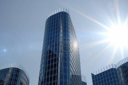 Photo pour Vue 3D illustration faible angle de gratte-ciels. Gratte-ciels au jour levant du point de vue. Vue de dessous des gratte-ciel dans le quartier d'affaires en plein jour. Concept d'entreprise de succès. - image libre de droit