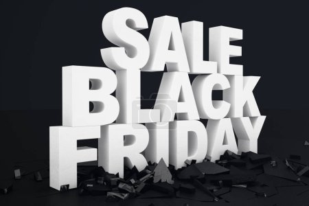 Photo for 3D illustration Black Friday, sale message for shop. Business shopping store banner for Black Friday. 3d text in black and white color, Modern design - Royalty Free Image