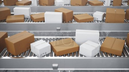 Photo for 3D illustration Packages delivery, packaging service and parcels transportation system concept, cardboard boxes on a conveyor belt in a warehouse. Three conveyor belts - Royalty Free Image