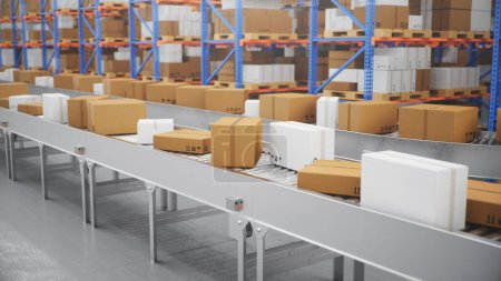 Photo for Packages delivery, parcels transportation system concept, cardboard boxes on conveyor belt in warehouse. Warehouse with cardboard boxes inside on pallets racks. Huge modern warehouse. 3D Illustration - Royalty Free Image