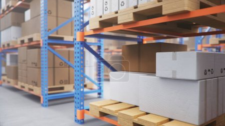 Photo for Warehouse with cardboard boxes inside on pallets racks, logistic center. Huge, large modern warehouse. Warehouse filled with cardboard boxes on shelves, boxes stand on pallets. 3D Illustration - Royalty Free Image