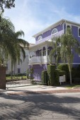 Mount Dora Florida USA - October 2106 - A Liliac color painted house in a gated community