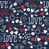 Seamless vector background with hearts arrows ringlets flowers love  illustration for fabric scrapbooking paper and other