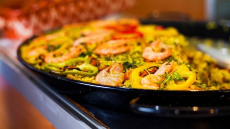 Photo for Real Spanish Seafood Paella - Royalty Free Image