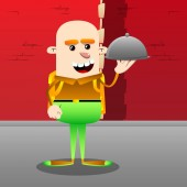 Schoolboy holding silver cloche in hand Vector cartoon character illustration