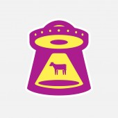 funny illustration aliens kidnap a cow