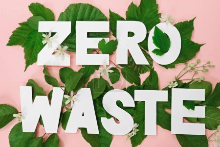 Photo for Zero waste paper text witj green leaves on pink background - Royalty Free Image