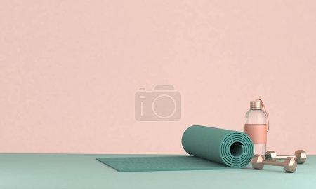 Photo pour Rendu 3D des équipements de sport tapis de yoga, bouteille d'eau, haltères sur le sol . - image libre de droit