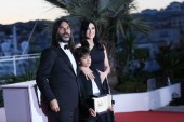 Zain Alrafeea,  Nadine Labaki, Khaled Mouzanar attend the photocall the Palme D'Or Winner during the 71st Cannes Film Festival at Palais on May 19, 2018 in Cannes, France.