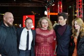 Michael Villar, Jamie Bell, Danielle Macdonald, Guy Nattiv and Jaime Ray Newman attend the 'Skin' premiere during the 69th Berlinale International Film Festival Berlin at Zoo Palast on February 11, 2019 in Berlin, Germany.