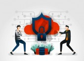 flat cartoon character developers keep cloud storage server database from attacks by thieves and hackers security companies conduct assessments on product security systems and service to protect customers marketing promotion advertising ads