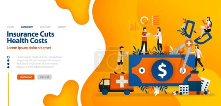 Illustration for Insurance Cuts Health Costs. money cut with giant scissors .vector illustration concept can be use for landing page, template, ui ux, web, mobile app, poster, banner, website, marketing, promotion, advertising, document, ads. Creative Design Concept - Royalty Free Image