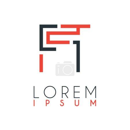 Illustration pour Le logo entre la lettre F et la lettre T ou FT avec une certaine distance et relié par la couleur orange et gris - image libre de droit