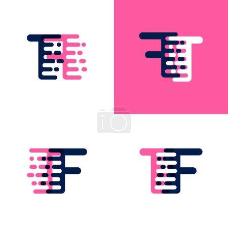 Illustration pour Logo lettres FT avec vitesse d'accentuation en rose et violet drak - image libre de droit