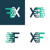 XF letters logo with accent speed green and blue