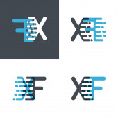 XF letters logo with accent speed soft blue and soft gray