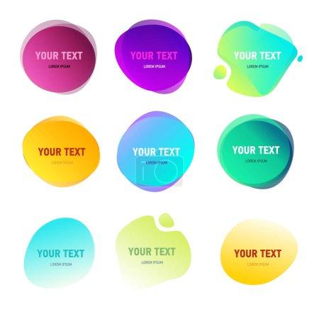 Formas redondas abstractas para su texto. Efecto de colores vivos degradados. Círculos de estilo duotono. Elementos del logotipo
