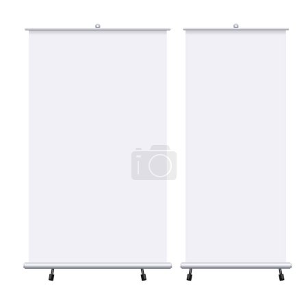 Photo for Blank roll up banners set isolated on the white background. Design template blank pop up banner for presentation, corporate training and briefing. mockup - Royalty Free Image