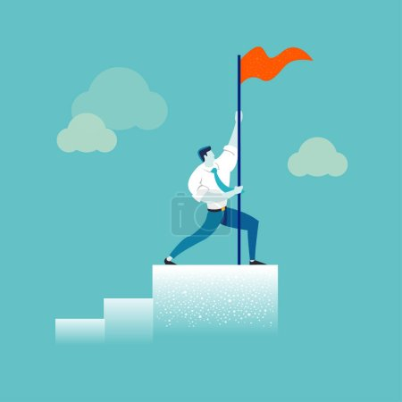 Photo for Strong businessman holding a red flag on top of the column graph. Business concept of leadership, success, victory, goal, achievement. Modern trendy illustration - Royalty Free Image