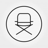 Folding chair for camping fishing Universal icon for web and mobile application Vector illustration on a white background Editable Thin line