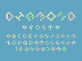Diamond color font Vector alphabet letters