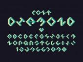 Diamond green font Vector alphabet