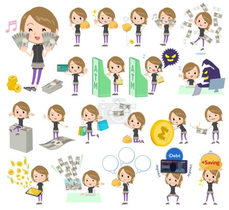 Photo for A set of women in sportswear with concerning money and economy.There are also actions on success and failure.It's vector art so it's easy to edit. - Royalty Free Image