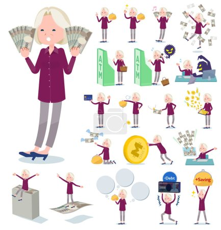 A set of old women with concerning money and economy.There are also actions on success and failure.It's vector art so it's easy to edit.