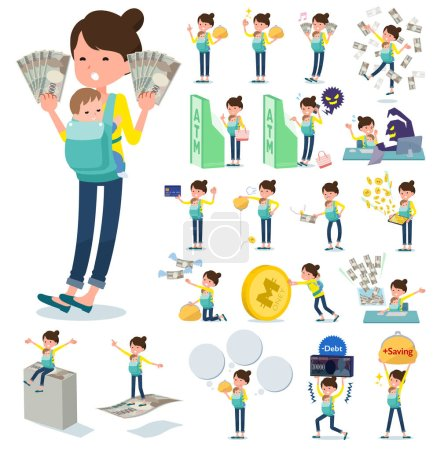 A set of woman holding a baby with concerning money and economy.There are also actions on success and failure.It's vector art so it's easy to edit.