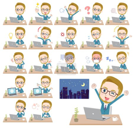 Illustration for A set of Businessman on desk work.There are various actions such as feelings and fatigue.It's vector art so it's easy to edit - Royalty Free Image