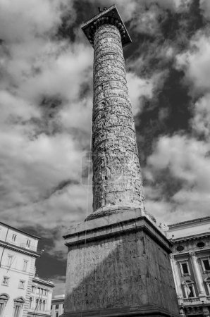 view of the Traian Columns, built to celebrate victory over barbar populations.