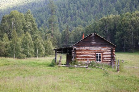A log cabin in the hunting field, Siberia, Altai.