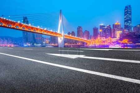 Photo for Road Ground and Urban Skyline Architectural Landscap - Royalty Free Image