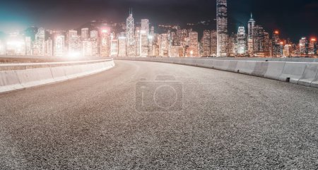 Photo for Road Ground and Urban Modern Architectural Landscape Skylin - Royalty Free Image