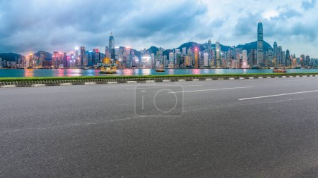 Photo for Panoramic view of the city,s empty road - Royalty Free Image