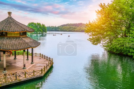 Photo for Scenic landscape with lake in Hangzhou, China - Royalty Free Image