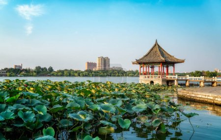 Photo for Ancient architectural landscape of Daming Lake Park in Jina - Royalty Free Image
