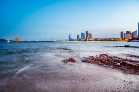 Photo for Qingdao's beautiful coastline architectural landscape at nigh - Royalty Free Image
