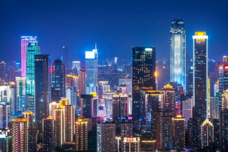 Photo for Night view of Chongqing Architecture and urban skylin - Royalty Free Image