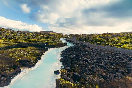 blaue Lagune in der Nähe von Reykjavik in Island. berühmtes isländisches arktisches Thermalbad. Sehenswürdigkeiten