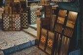 JERUSALEM, ISRAEL - JULY 27, 2018 : Retro chess and backgammon boards on floor