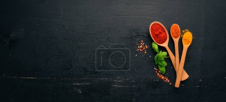 Photo for Spices and herbs on a wooden board. Pepper, salt, paprika, basil, turmeric. On a black wooden chalkboard. Top view. Free copy space. - Royalty Free Image