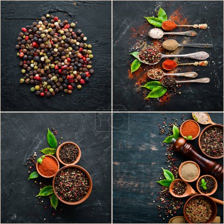 Photo for Background of spices. Photo collage of pepper and spices. Top view. On a black background. - Royalty Free Image
