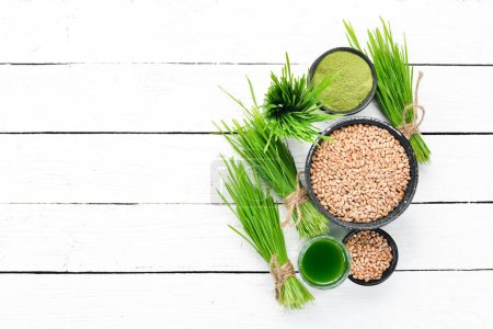 Healthy green wheat drink on a white background. T...