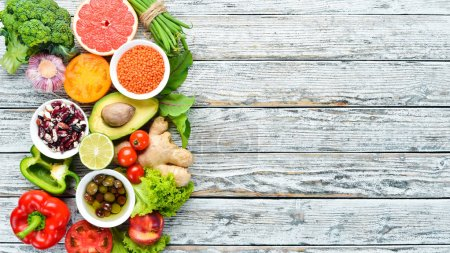 Healthy Organic Food. Fresh fruits and vegetables. Top view. Free space for your text.