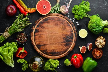 Photo for Fresh vegetables and fruits. Healthy food. Top view. Free copy space. - Royalty Free Image