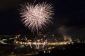 """Постер, картина, фотообои """"Ночной вид фейерверков в городе Авила в Испании, прекрасно сохранился средневековый город-крепость"""""""
