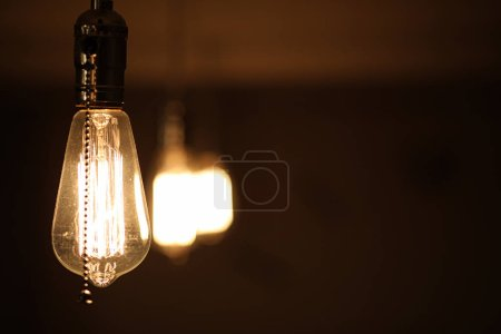 Photo for Lamps with tungsten filament. Edison light bulb. Filament filament in vintage lamps. Retro design of light bulbs. - Royalty Free Image