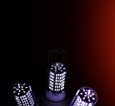 Photo for LED elements in the lamp. Lamps with diodes. Many bright lights from the diode lamp. - Royalty Free Image