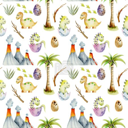 Photo pour Aquarelle bébé dinosaures parmi les volcans et les palmiers motif sans couture, peint à la main sur un fond blanc - image libre de droit